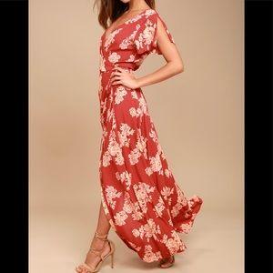 Lulu's Heart of Marigold Rust Red Wrap Maxi Dress